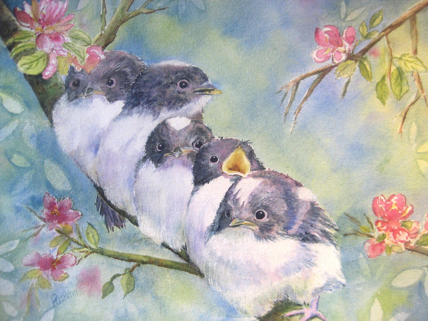 Original painting of baby birds getting ready to fly the coop.