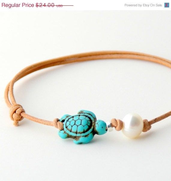 Freshwater Pearl Leather Anklet. Natural Leather Bracelet. Adjustable. Turtle - craftyjules