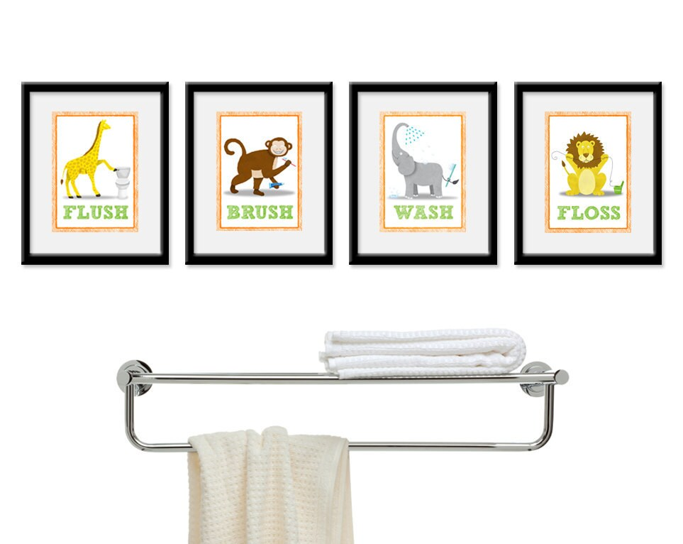 Kids bathroom wall art four 8 x 10 bathroom jungle by for Bathroom designs 10 x 8