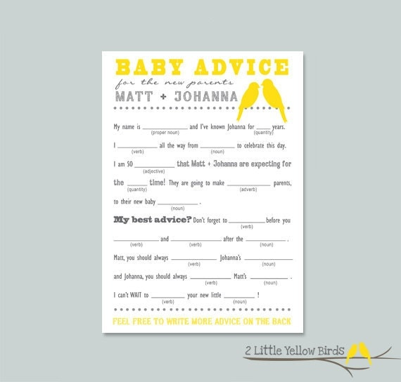baby shower advice card mad libs yellow by 2littleyellowbirds