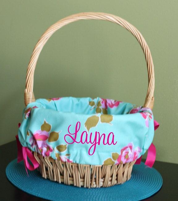Monogrammed Easter Basket Liner Aqua Floral By Leelynncrafts