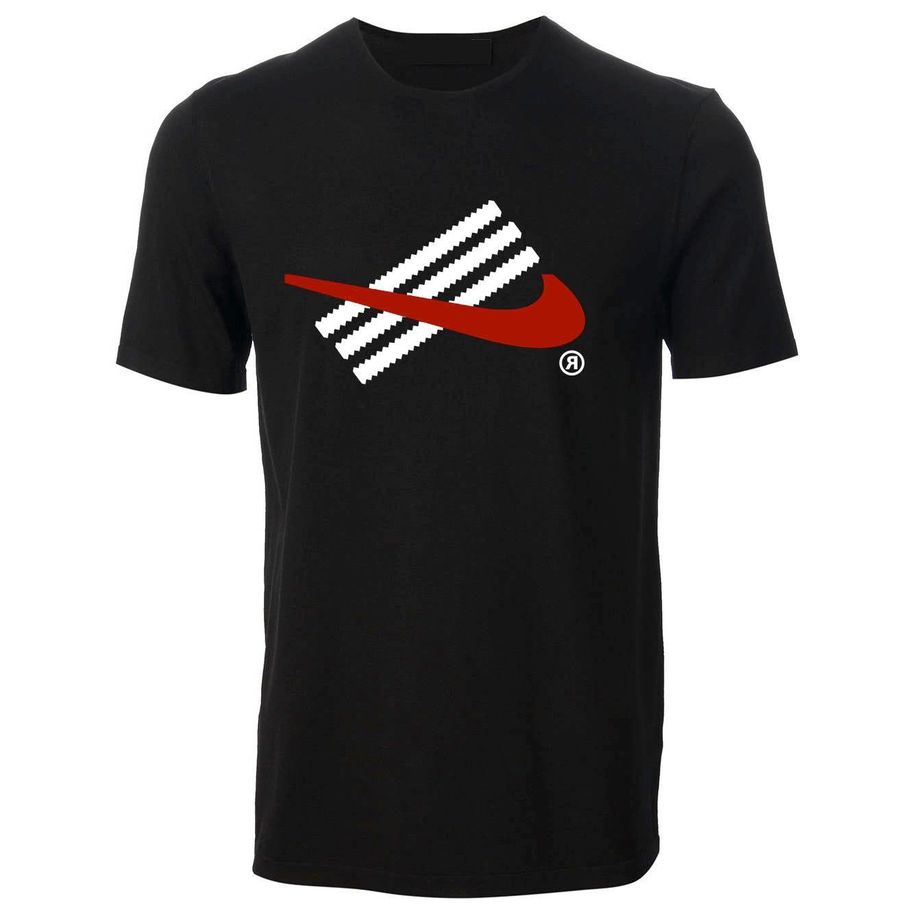 Fun Adidas and Nike Inspired TShirt Black  Birthday Gift Present