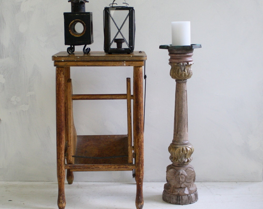 Items similar to wooden angel floor candle holder shabby for Floor candle holders