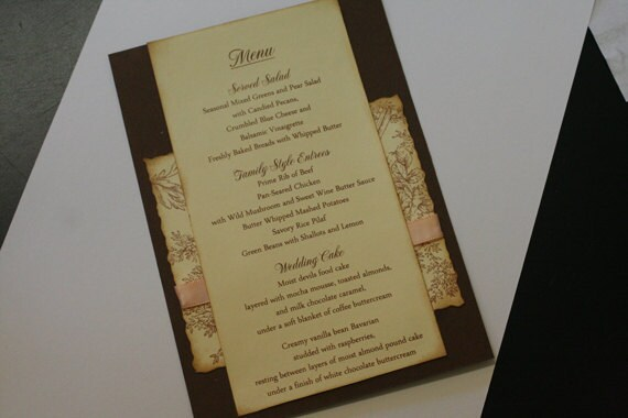 Wedding Menu Card Flowers and Flourish Pattern Vintage French Wedding