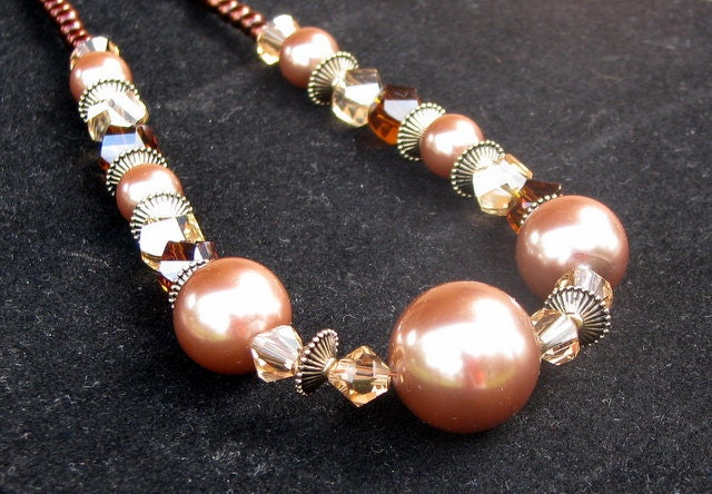 beaded choker with large brown pearl beads and colorado topaz bicone beads