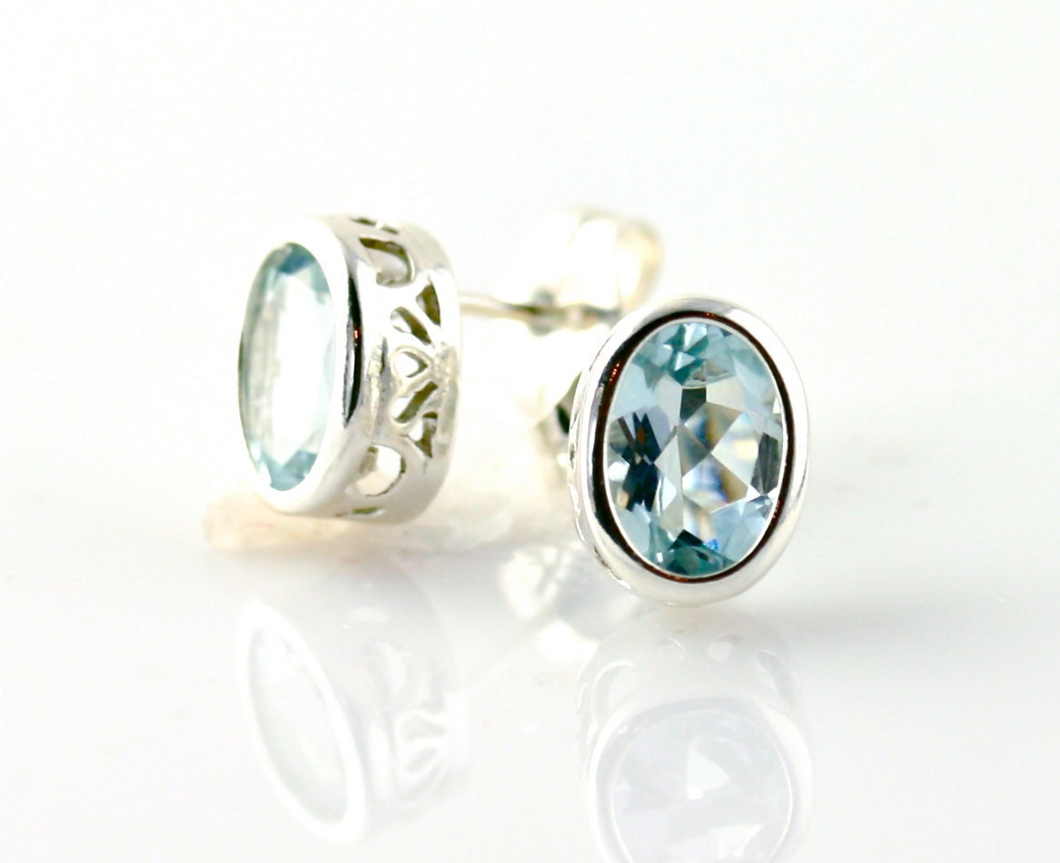 Aquamarine Earrings Aquamarine Stud Earrings .925 Sterling Silver Aqua Studs March Birthstone Earrings