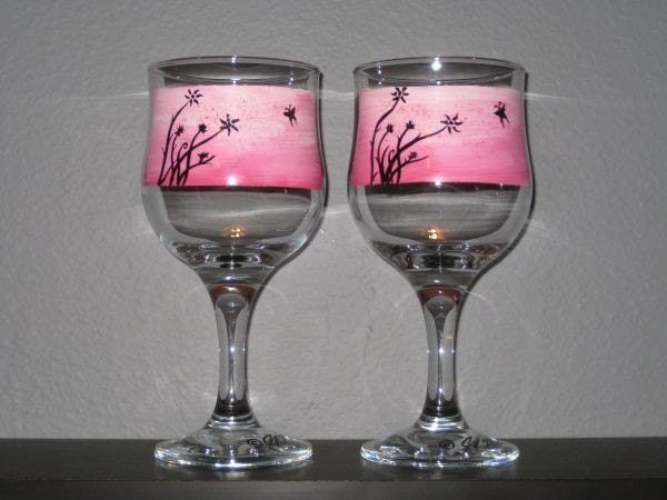 Decorative Hand Painted Pink Butterfly Wine Glasses By Winoart
