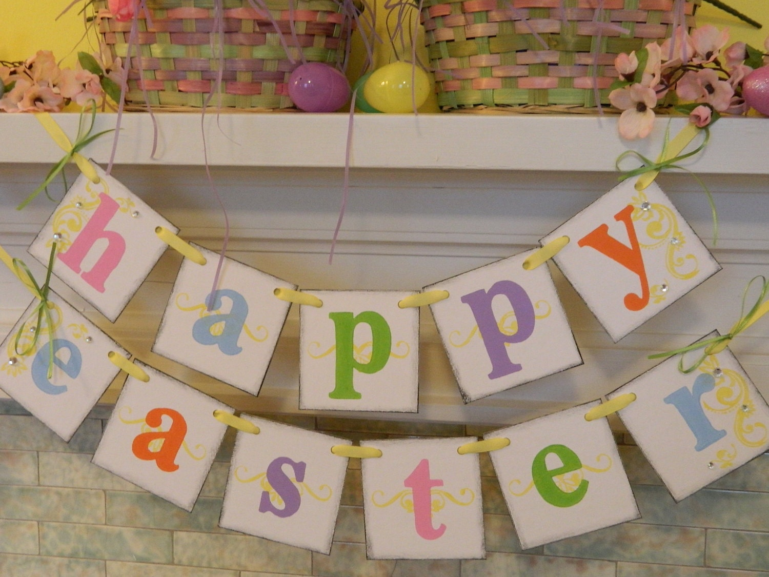 Ready to ship EASTER Decorations Spring /Easter Banner Easter Garland Photo Prop Holiday garland - anyoccasionbanners