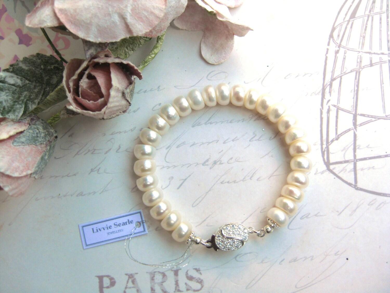 Bridal Bracelet Bridal Jewellery Freshwater Pearl Bridal Bracelet  Single Strand Bracelet  Ivory Pearl Single Strand Bracelet