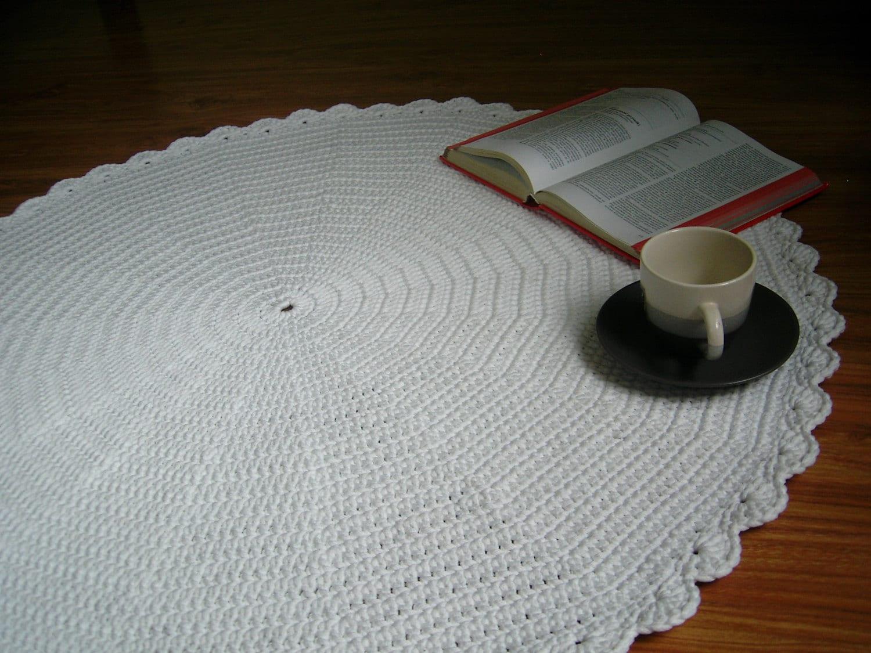 items similar to round white crochet doily rug