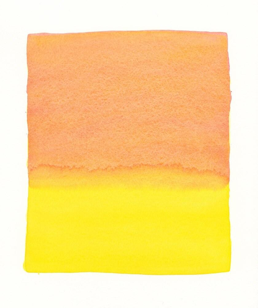 large original watercolor, bright horizon in versions of orange