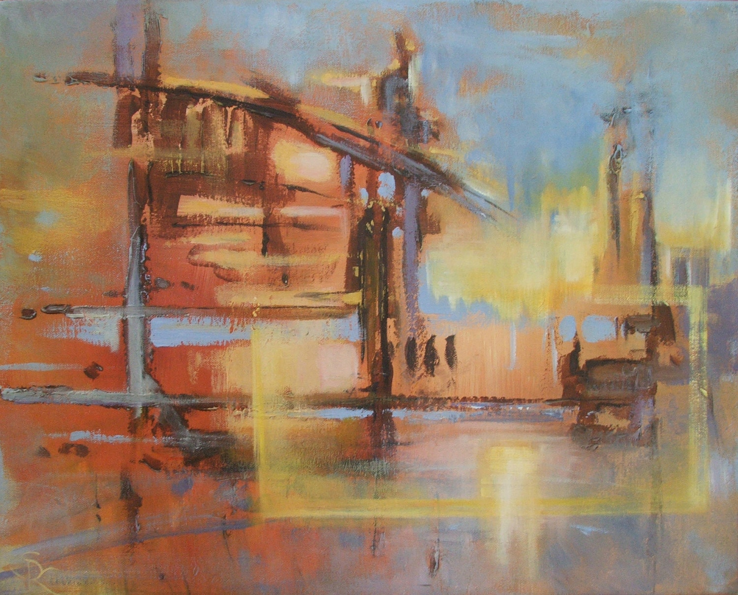 Sunset at the Fish Cannery, 16 x 20 Abstract Original on Canvas