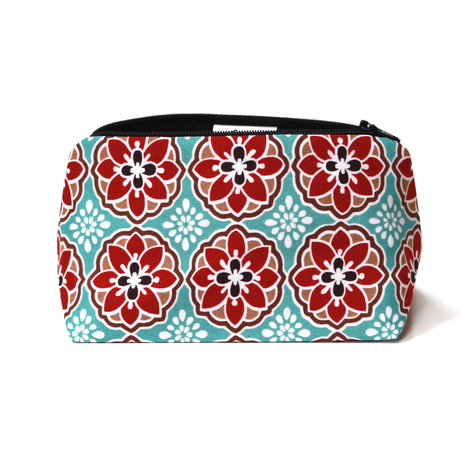 Black Friday SALE Stocking Stuffer Makeup Bag in Aqua & Red Vintage Floral Print - Bridesmaid Gift Fall Autumn 2012 Collection