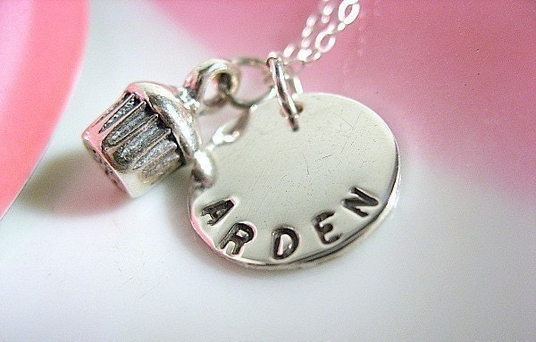 My Little Cupcake Silver Charm Name Necklace
