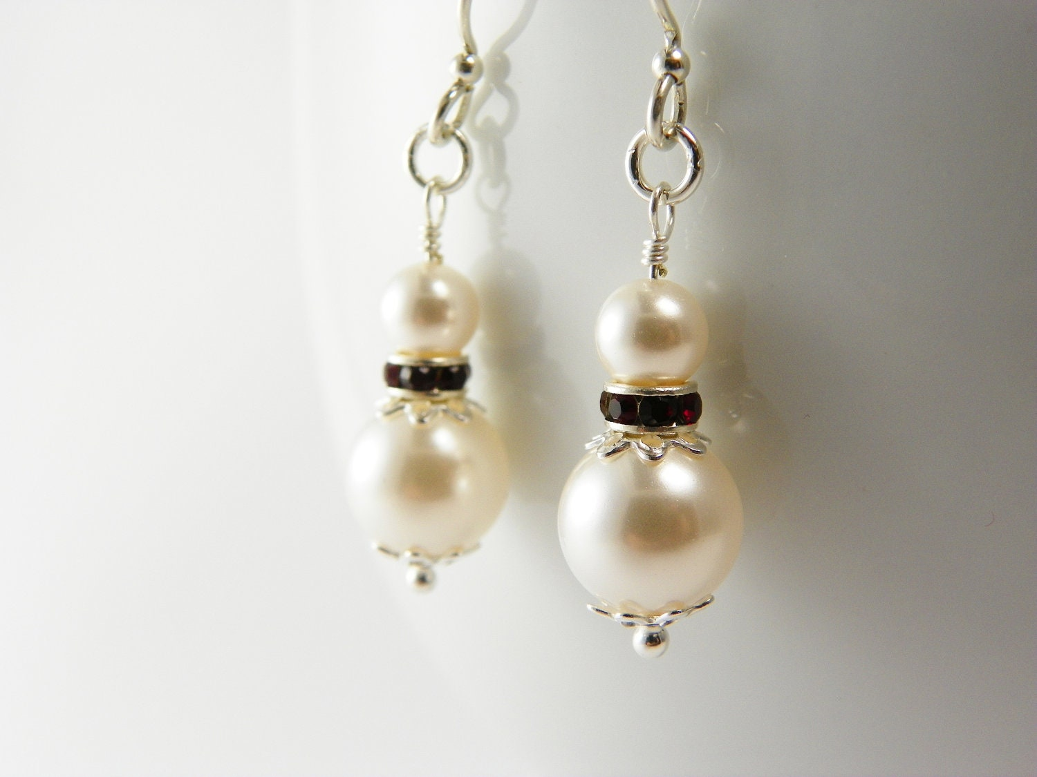 White Swarovski Pearl Earrings / Red Crystal / Sterling Silver / Wedding