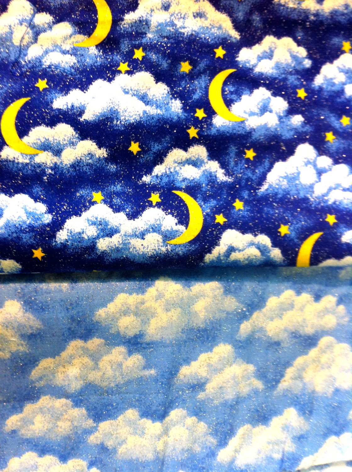 Celestial fabric bundle 4 yards clouds and moons fabric for Fabric with moons and stars