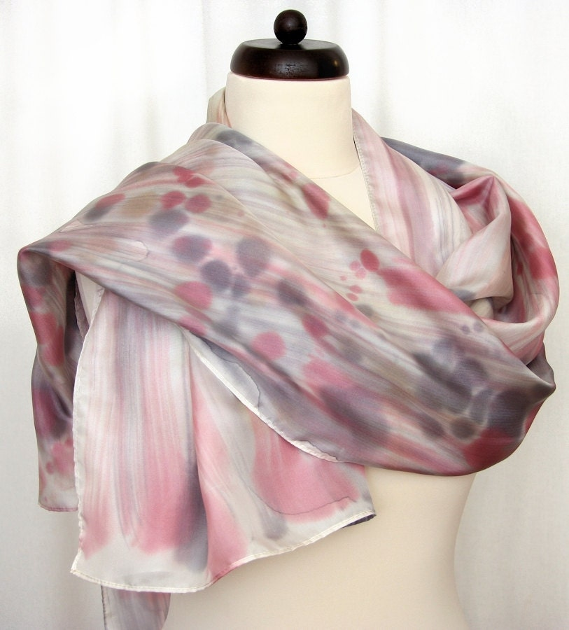 Hand painted silk scarf in the colors of gray, brown and green with dots - DorSilk