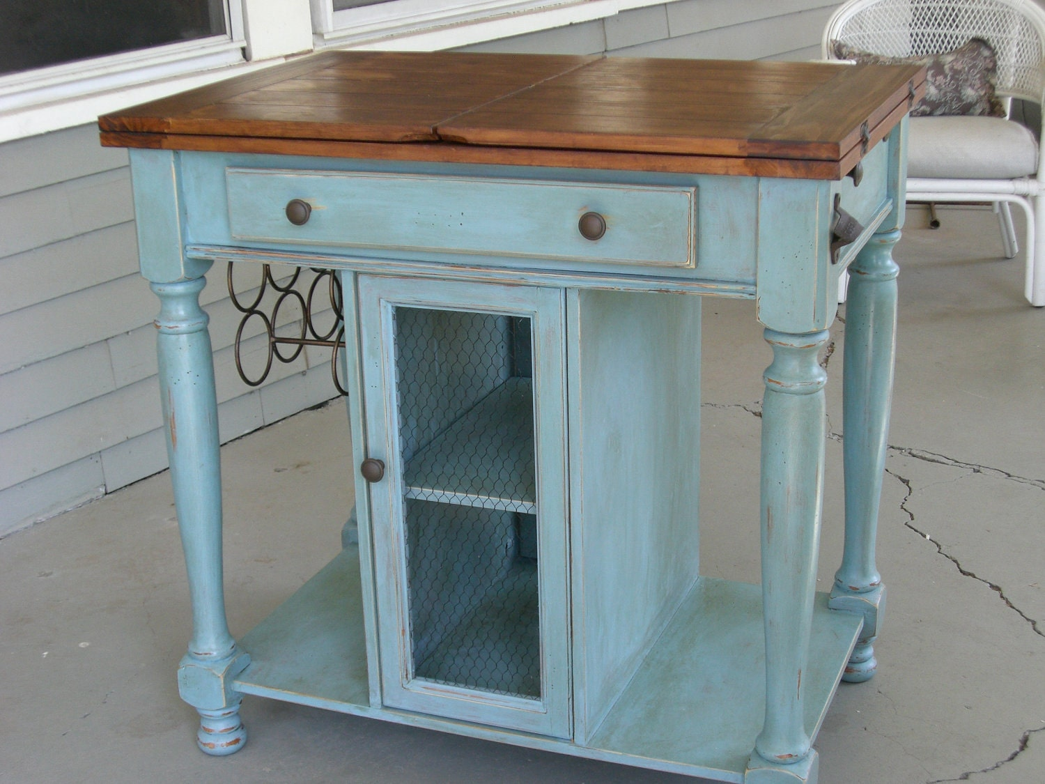french country kitchen island by chezamie on etsy