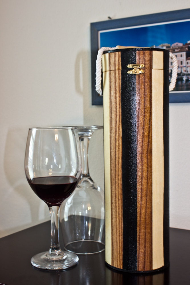 Striped Wooden Cylinder Wine Box