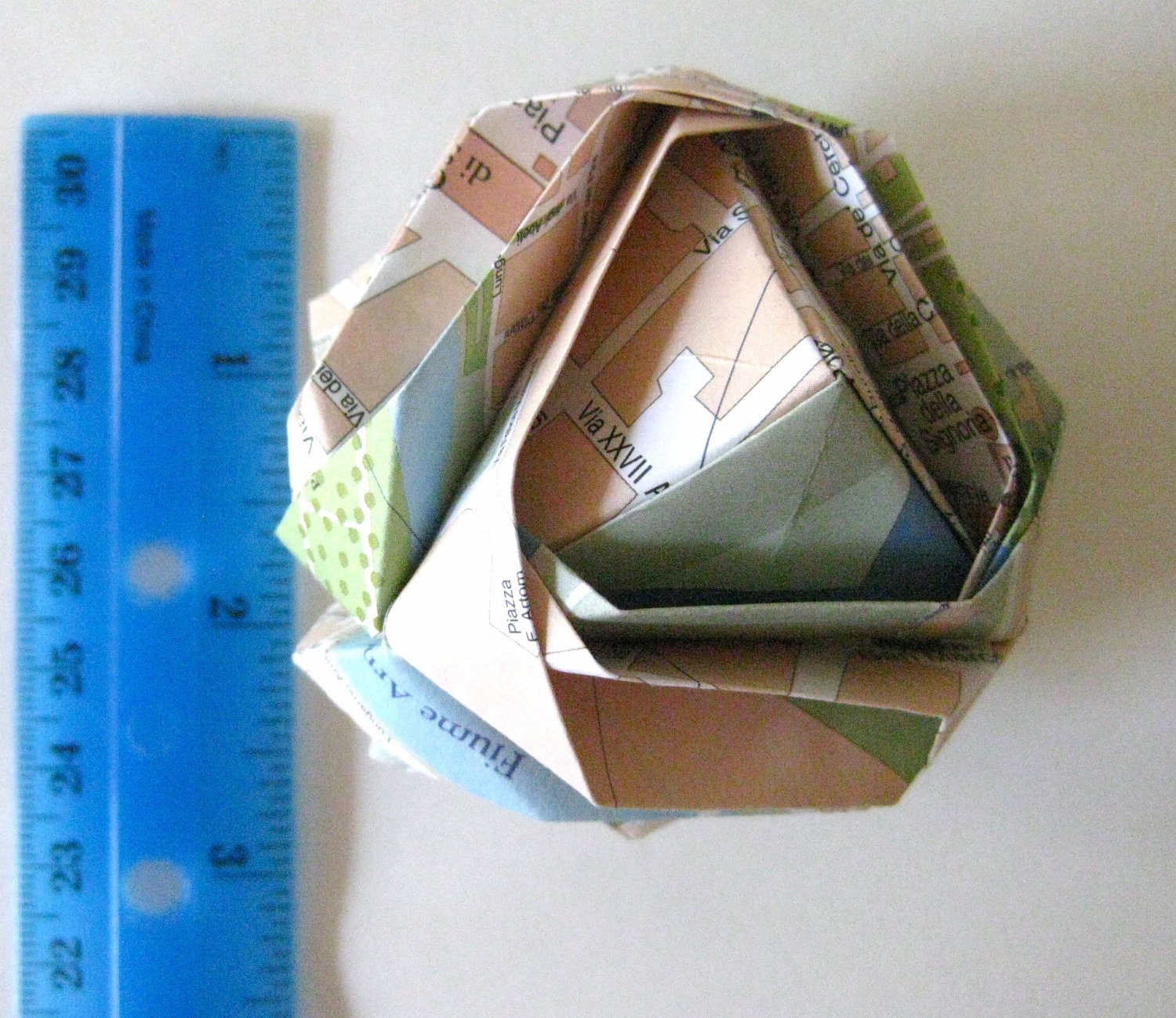 Florence Origami Ornament - Italy Map Upcycled