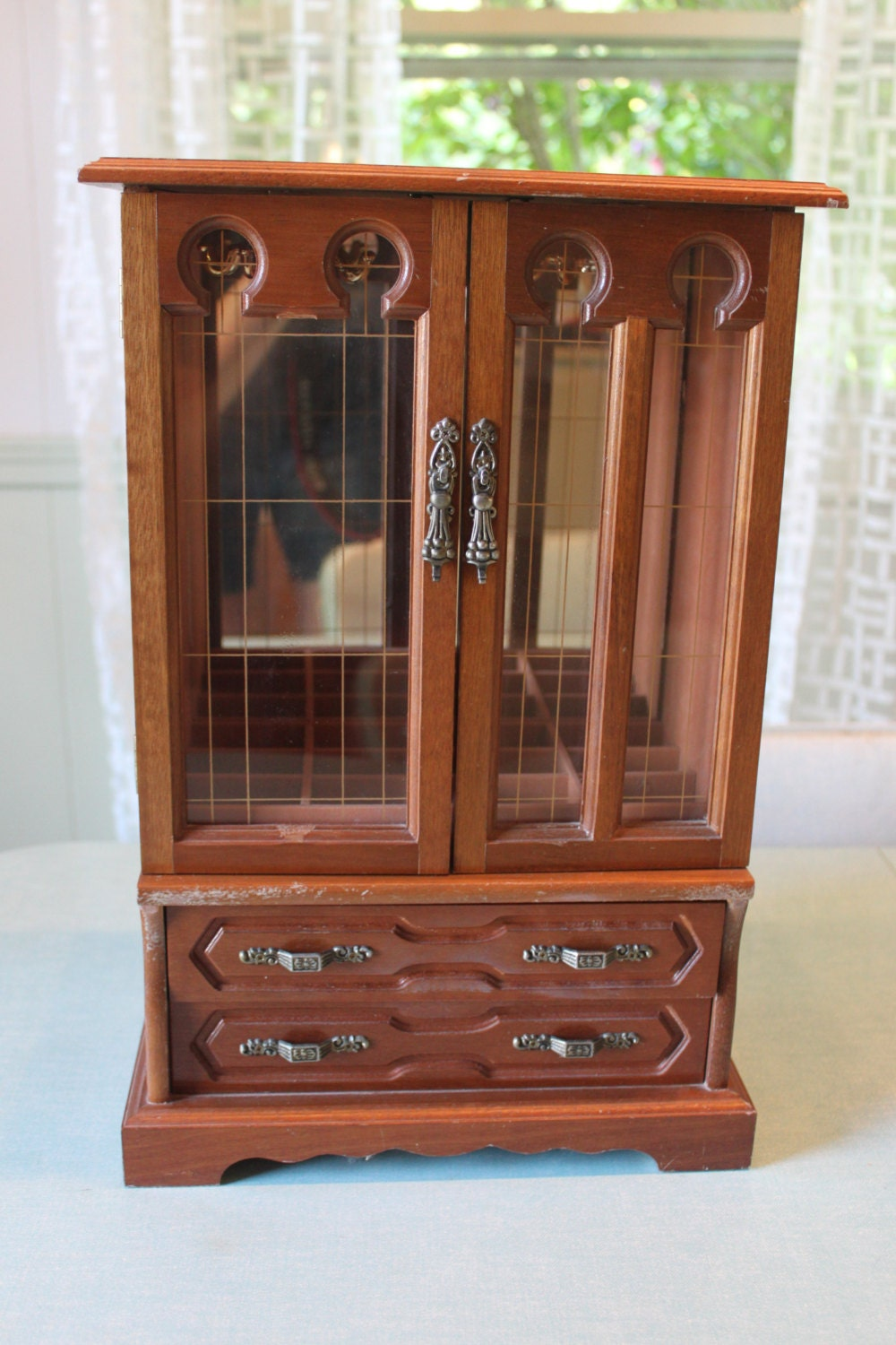 Large solid wood jewelry box chest armoire by speckledchicken for Solid wood jewelry armoire mirror
