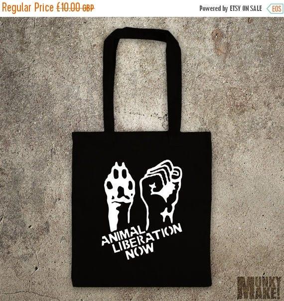 ON SALE ANIMAL Liberation Now  tote shopper bag vegan veggie animal rights alf protest shopping