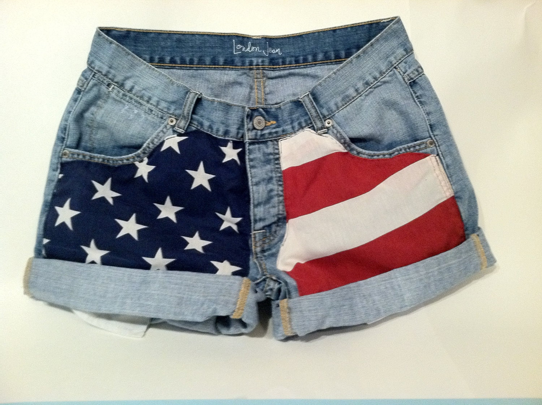 American Flag Jean Shorts Women