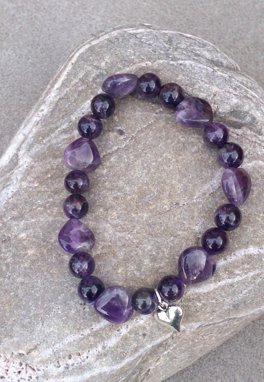 Amethyst Stretch Bracelet  Heart Charm  Handmade
