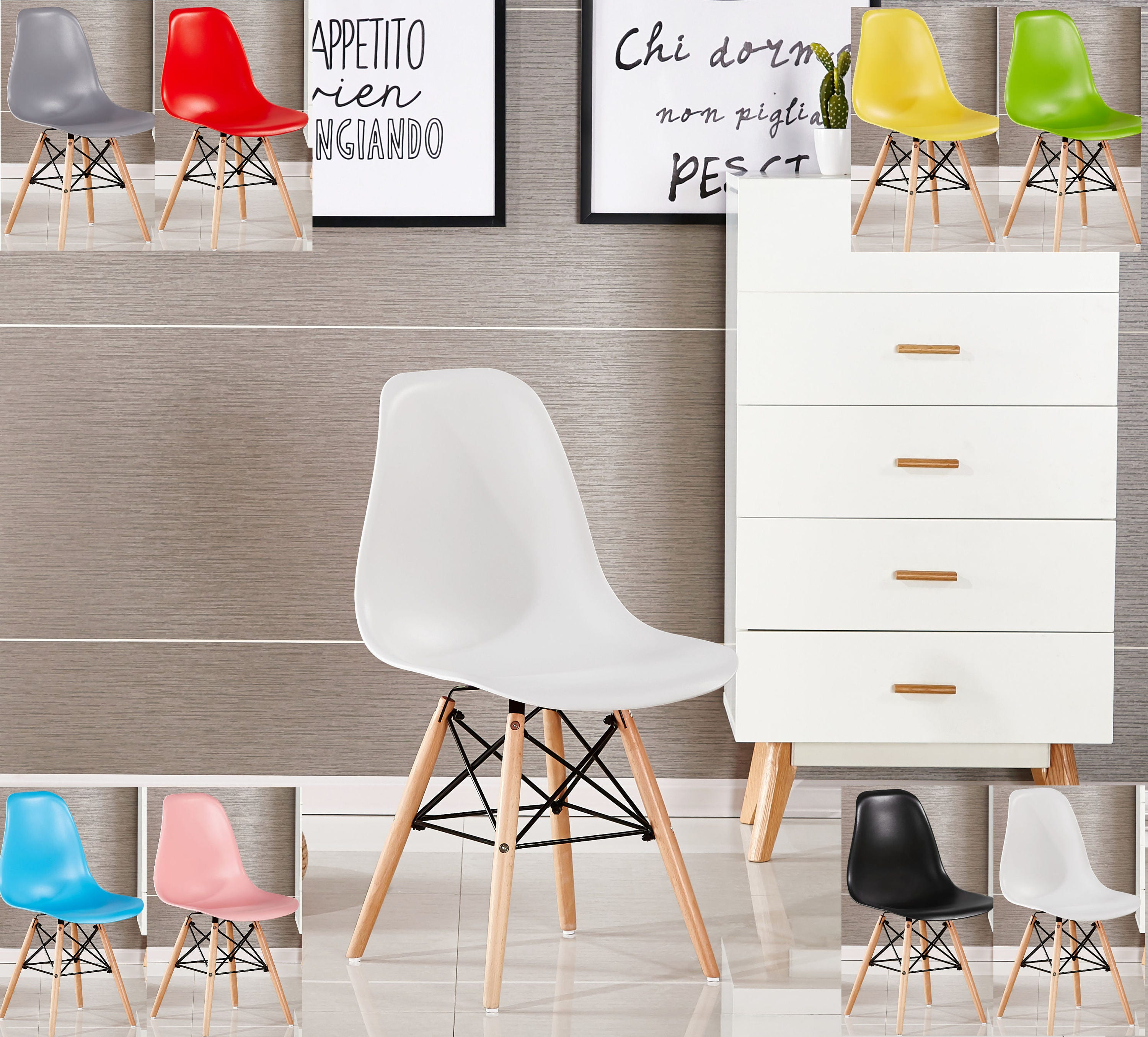 EAMES DSW Style Chair design  chaise DSW design scandinave Dining Chair or Office Chair