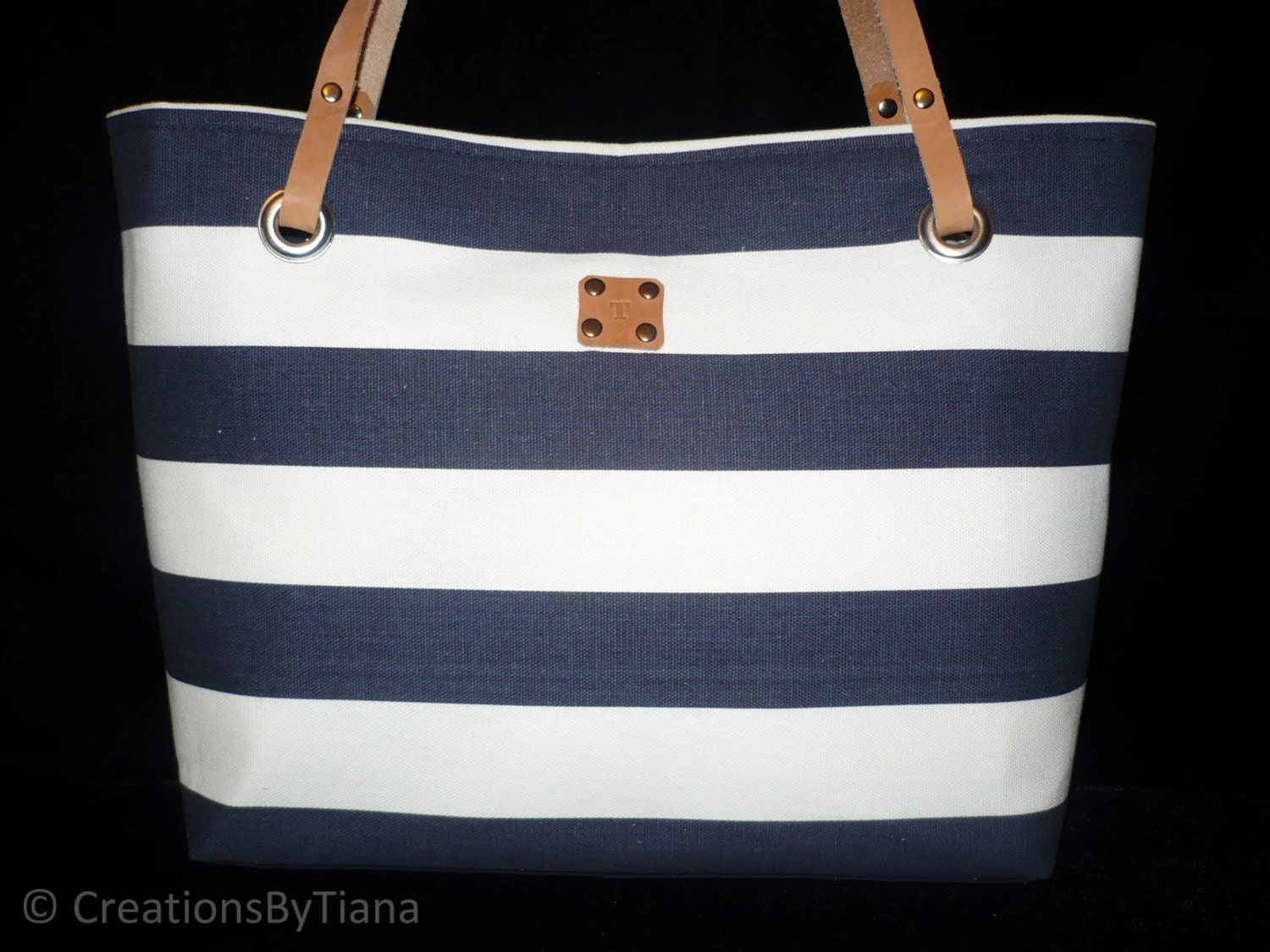 Navy BlueWhite Striped - Canvas Bag - Purse - Nautical - Shoulder Bag ...