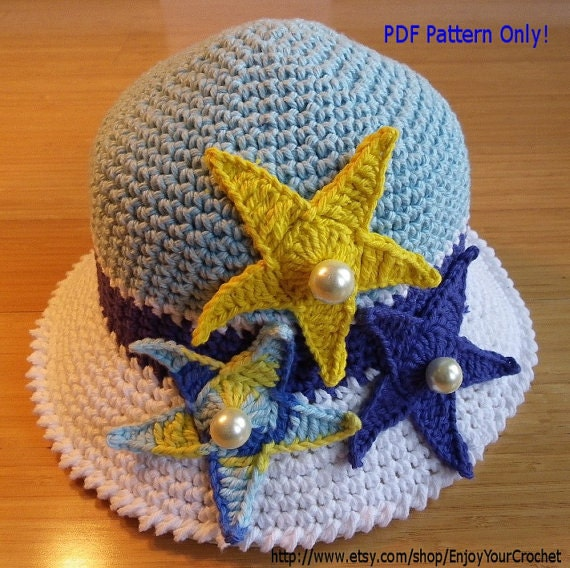 Free Crochet Pattern For Childs Owl Hat : CHILDREN CROCHET PATTERN Sun Hat Pattern by SunnyBunnyCrochet