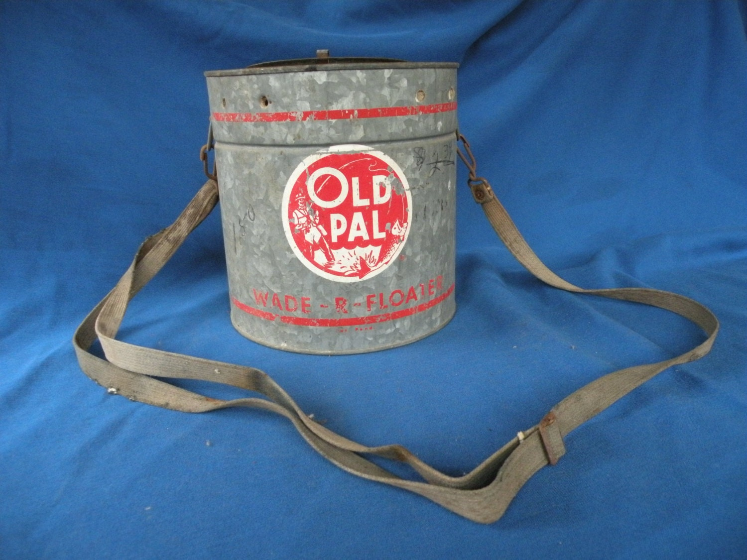 Old Pal, fishing bait galvanized bucket with strap, wade r floater