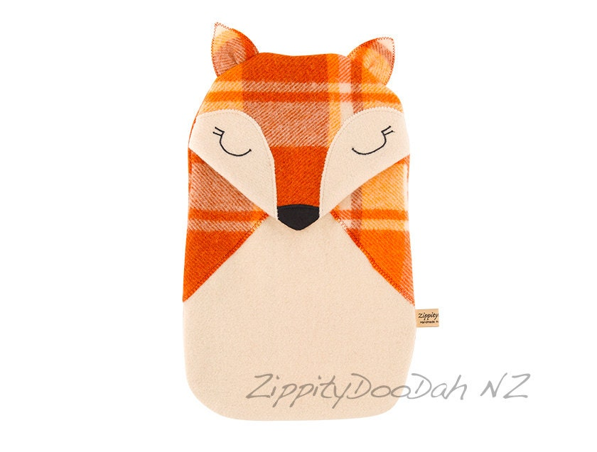 Rusty Orange  Fox Hot water Bottle cover - - zippitydoodahNZ