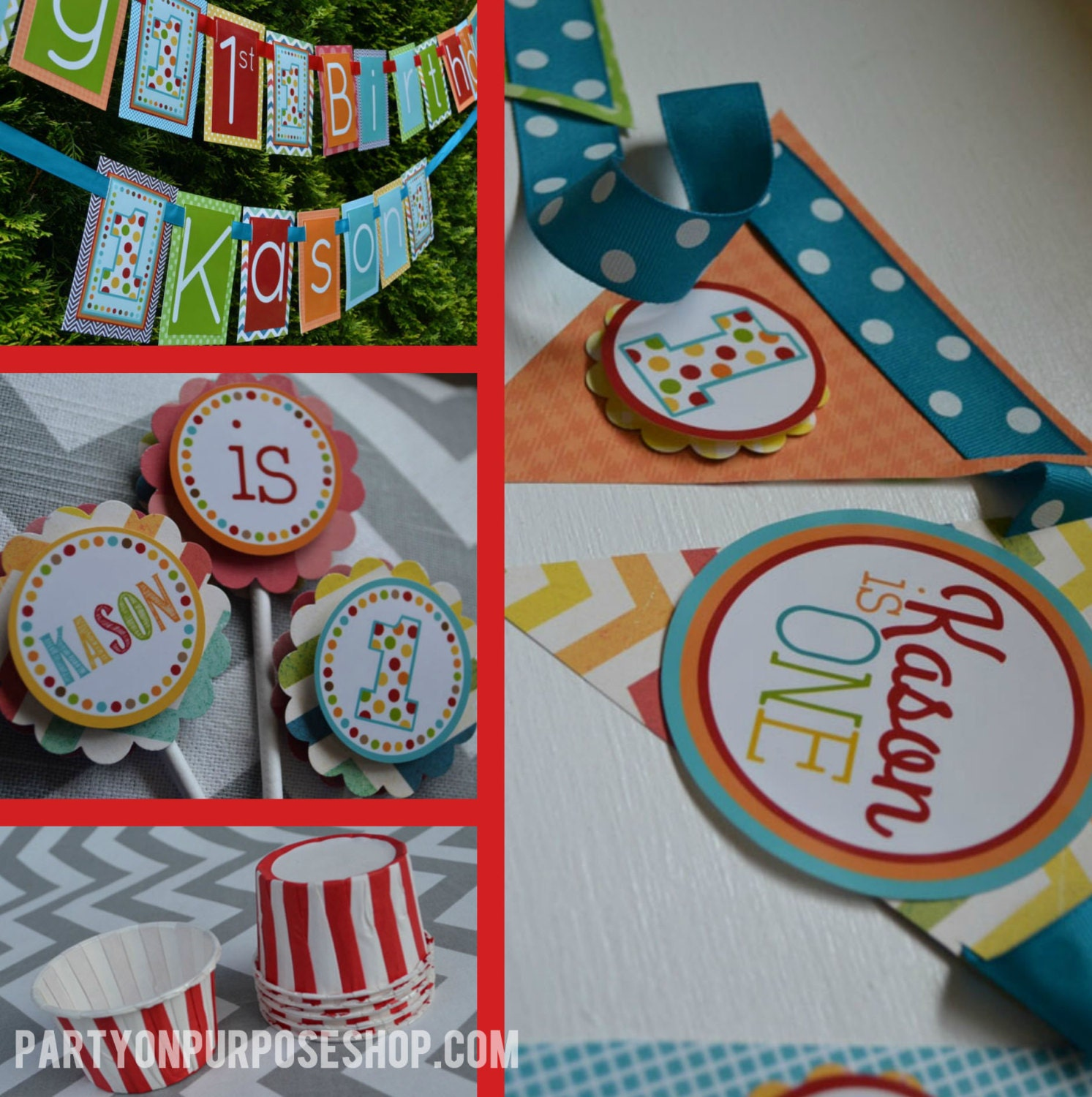 polka dot 1st birthday party decorations fully by partygloss