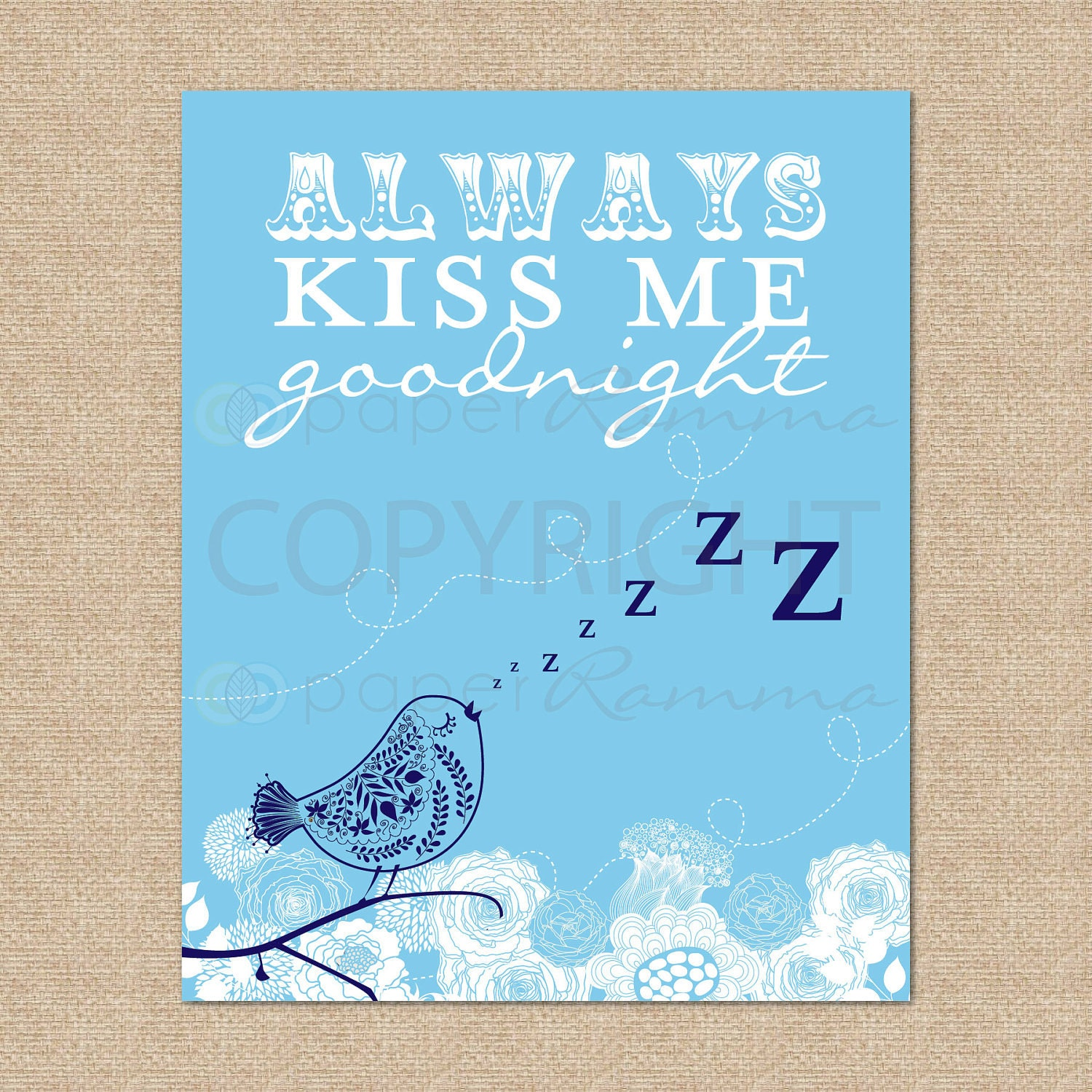 Always Kiss Me Goodnight - 8x10 - Archival Giclee Art Print for Nursery / Child's Room