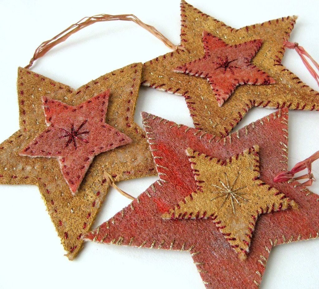 Homemade Christmas Star Ornament: Ornament Star Felted Rustic Country Embroidered By SewDanish