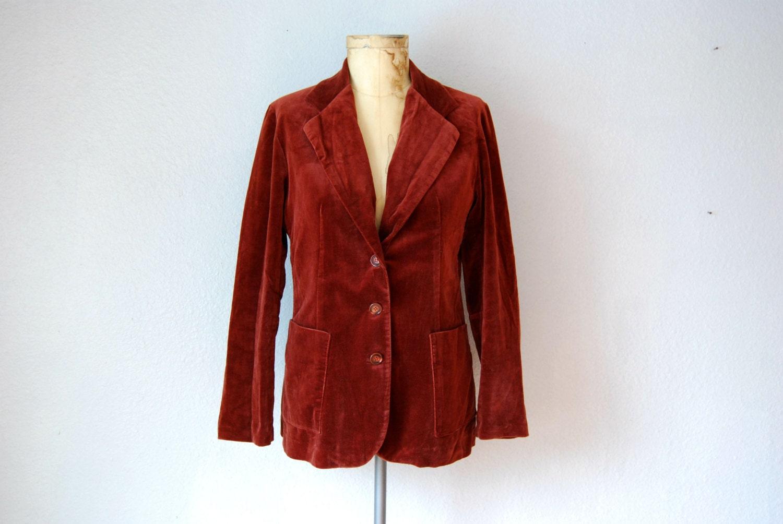 vintage SIENNA ORANGE velvet blazer jacket  /  1970s velvetine sport coat - vintagemarmalade