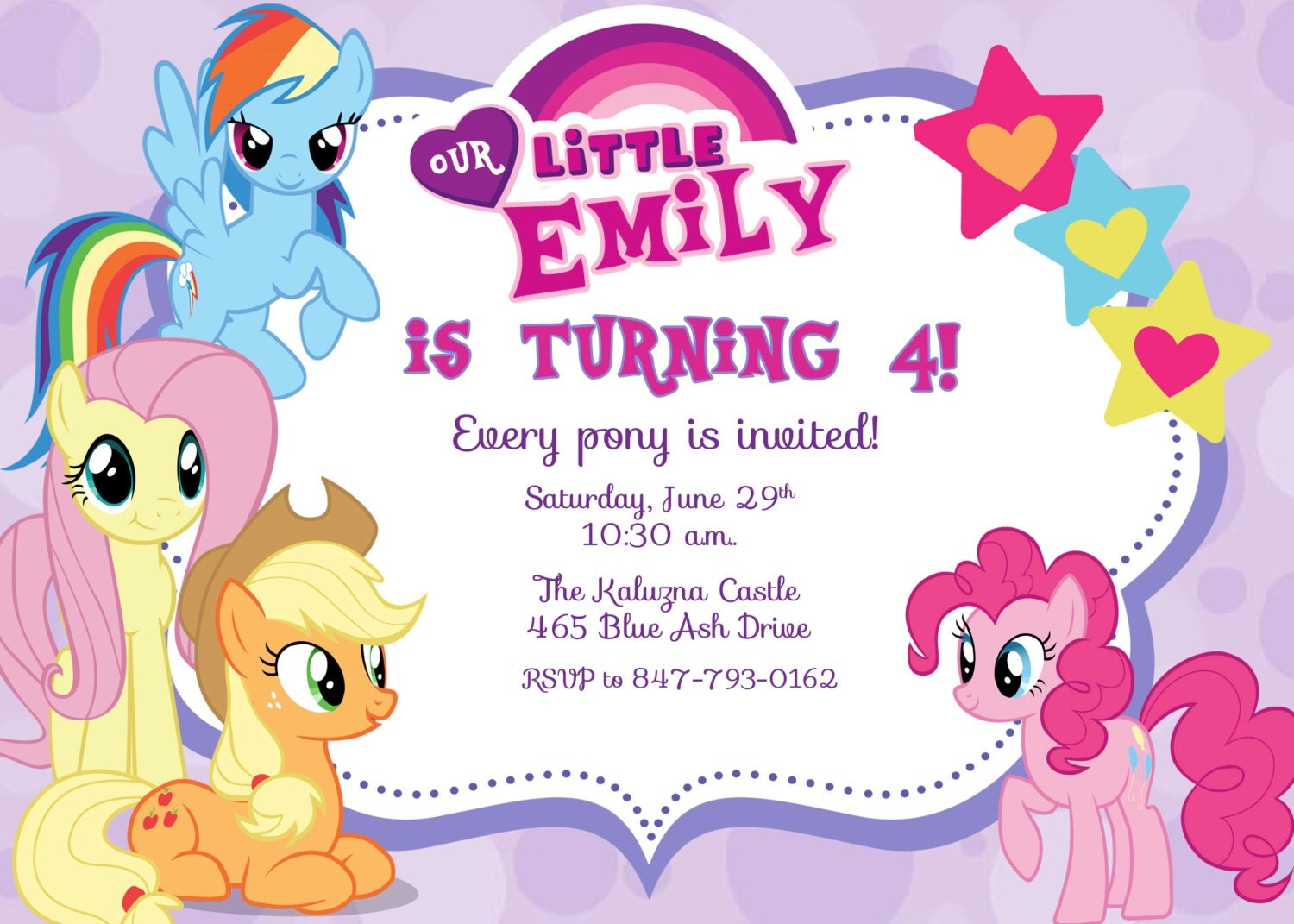 My Little Pony Birthday Party Invitation - Digital File