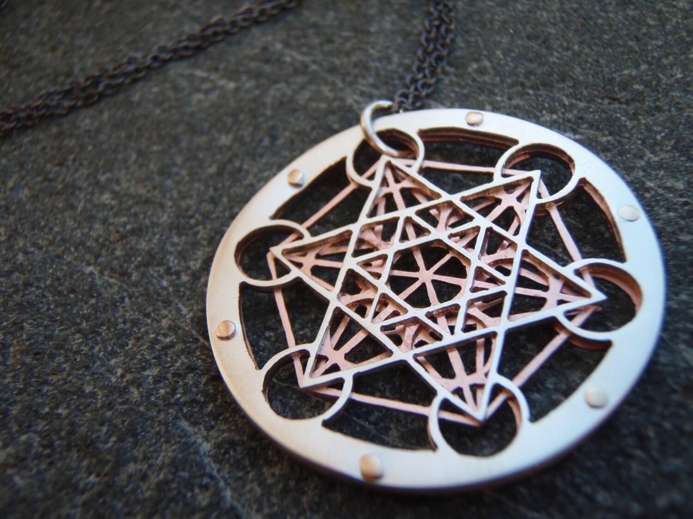 Small metatron 39 s cube pendant sterling by jeanburgersjewellery for Metatron s cube jewelry