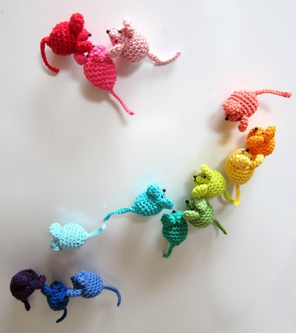 Mini Mice Crochet Pattern for Fridge Magnets, Brooches, Hair Ornaments etc