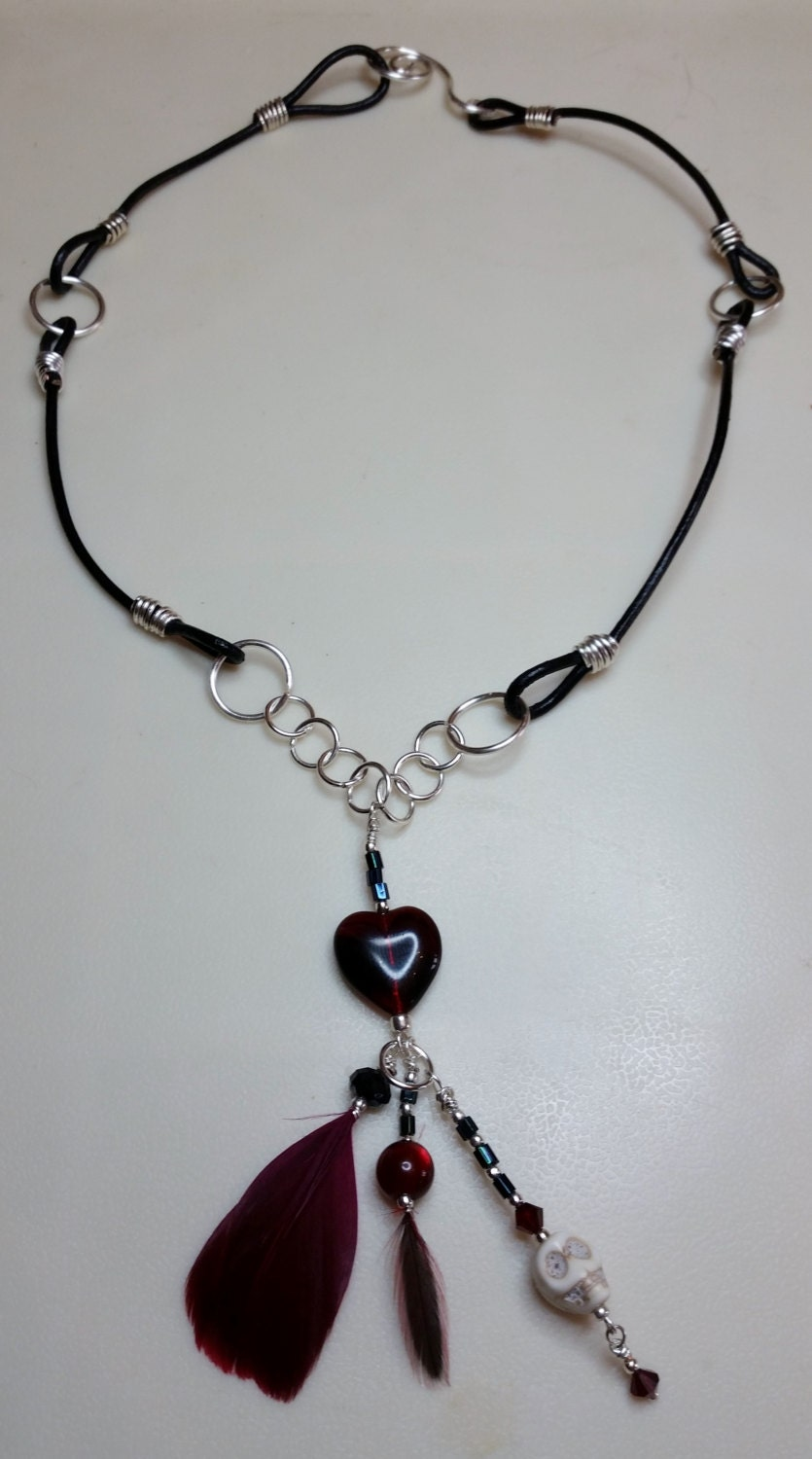 Bloody Valentine Red Glass Heart skull and feather charm necklace