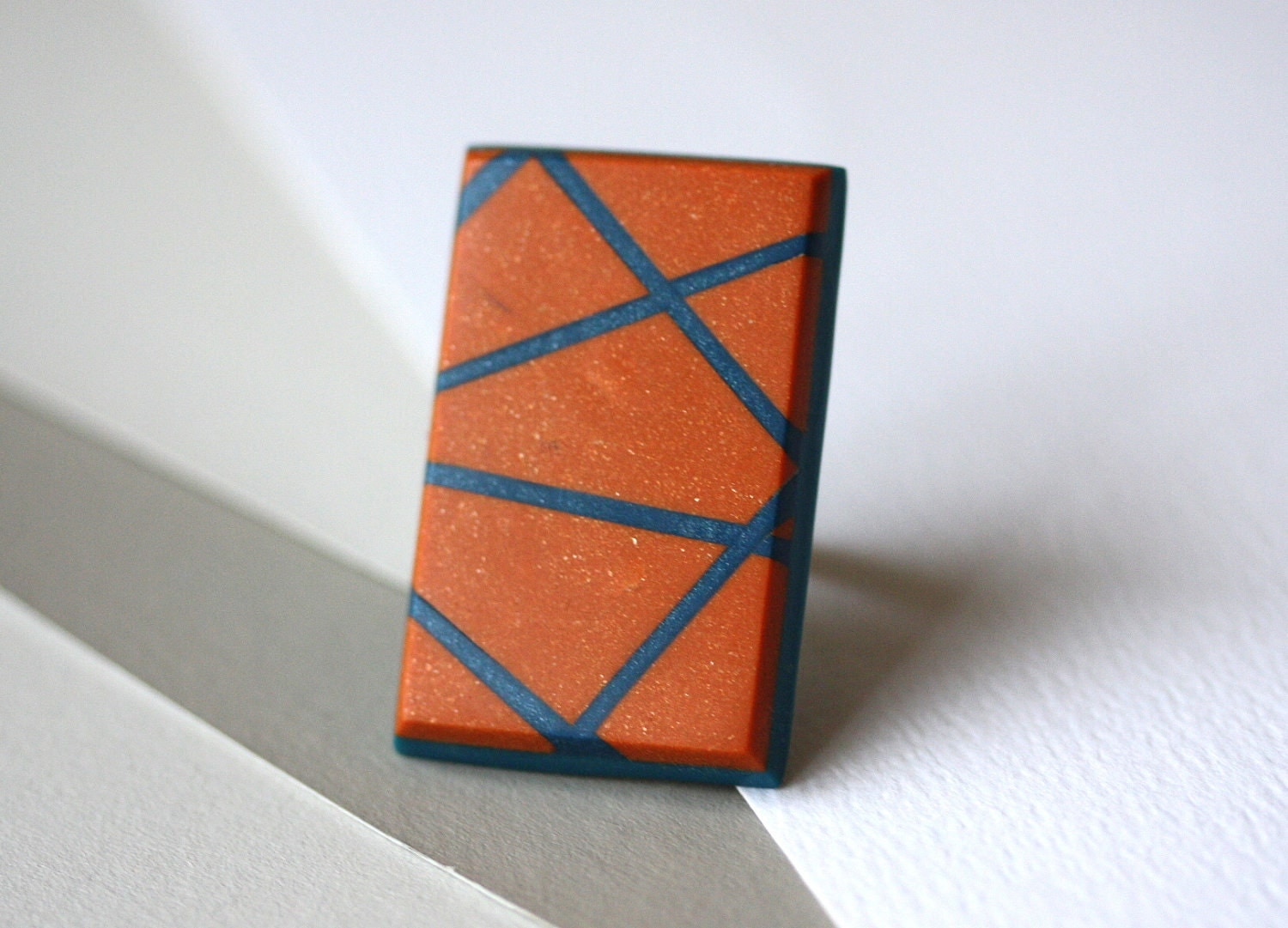 Tangerine and petrol blue ring - geometric, stripes, statement ring - zsbekefi