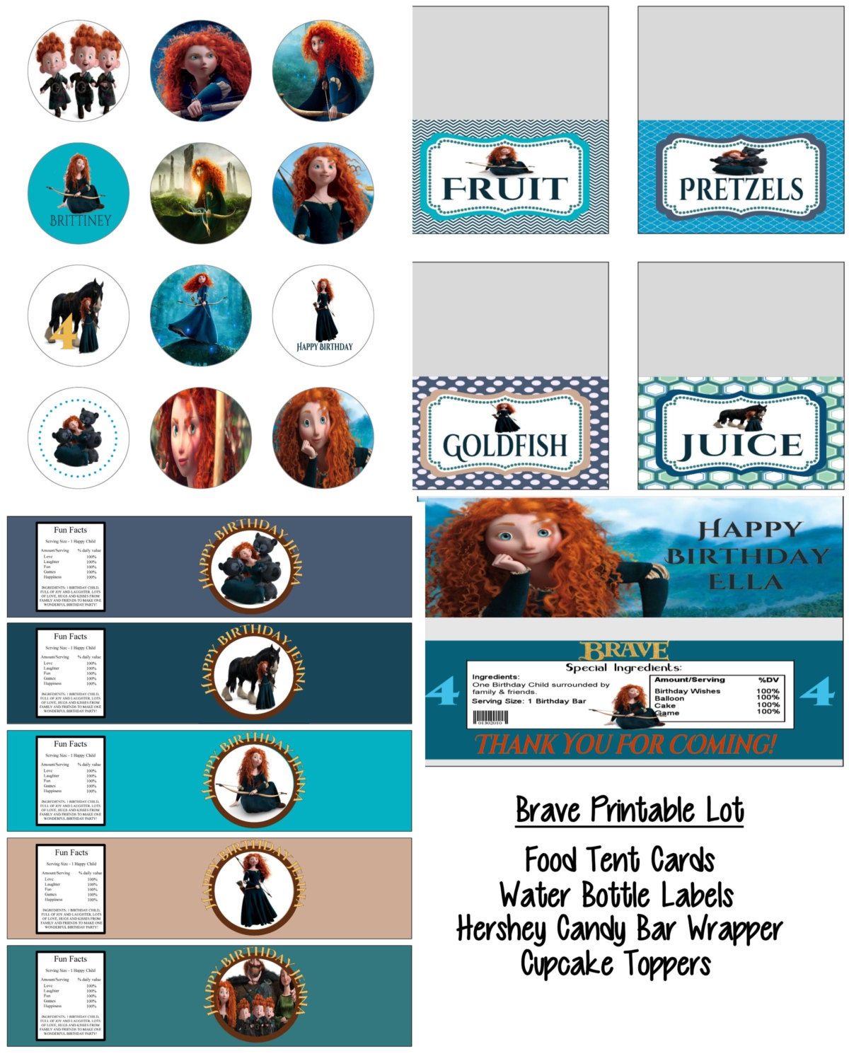 Disney Pixar Brave Merida Birthday Party Printable Lot Favors and More