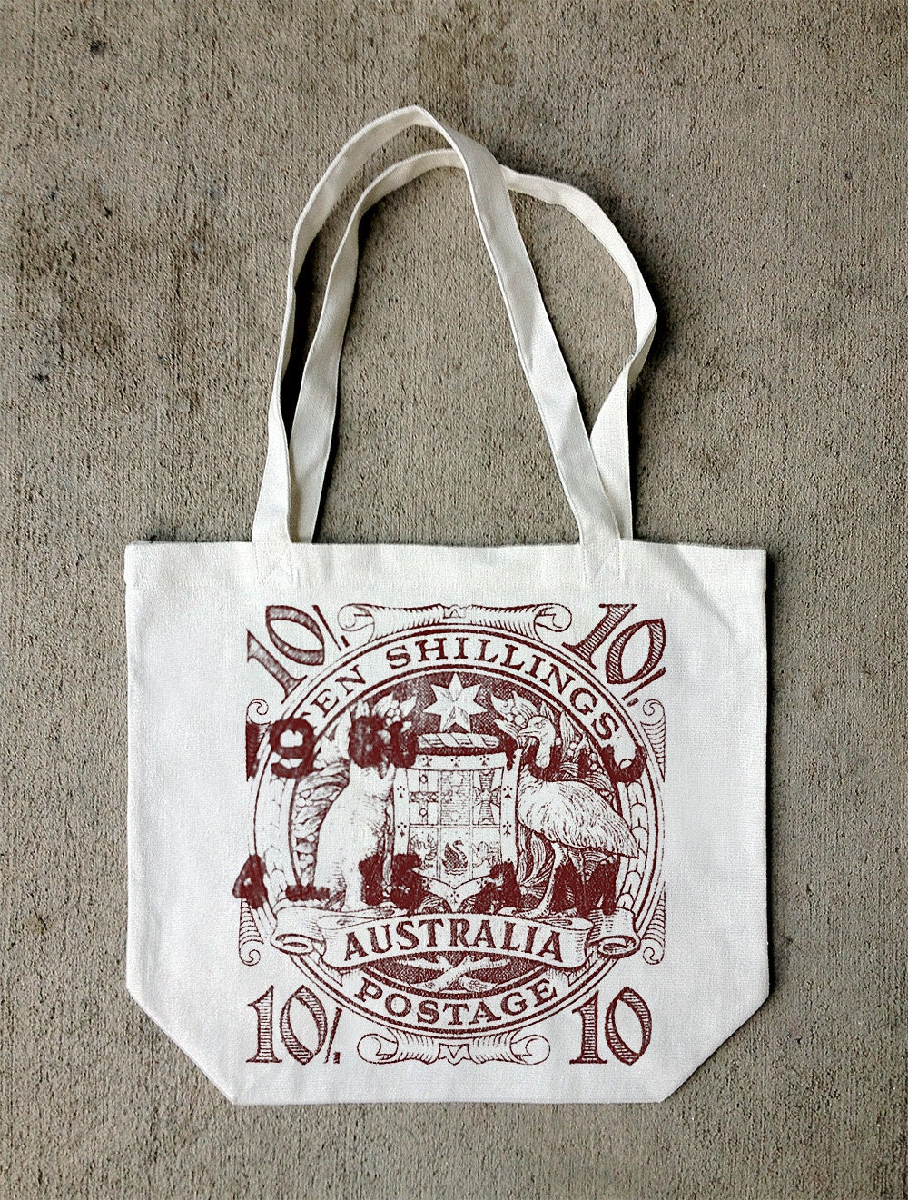 Australia 10 Shilling - Screen Printed Recycled Cotton Canvas Tote Bag - CrawlSpaceStudios