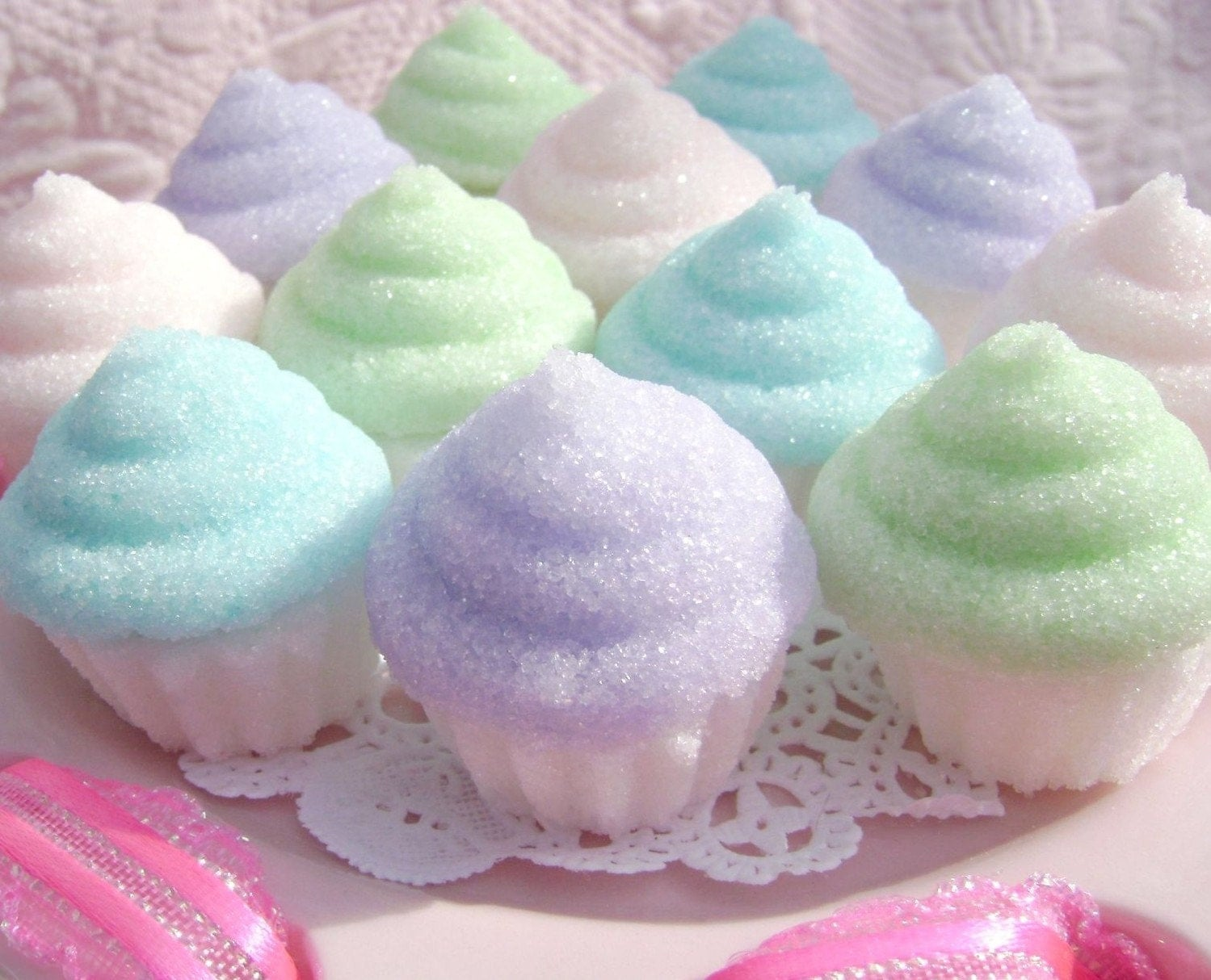 Items similar to Pretty Pastel Cupcake Sugar Toppers for ...