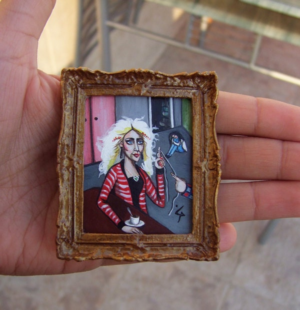 Acrylic Miniature - Original Painting  NOT A PRINT with Gold Frame