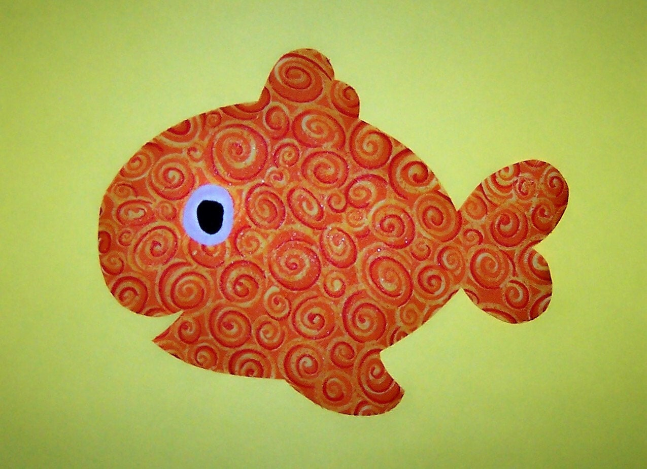 Fabric applique template pattern only chubby fish new by for Fish pattern fabric