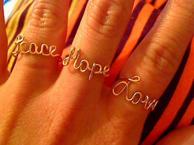 Adjustable 14 Karat Gold Filled Peace Love and Hope Rings  LePooke's Special any combination of these 3 words for 1 low price