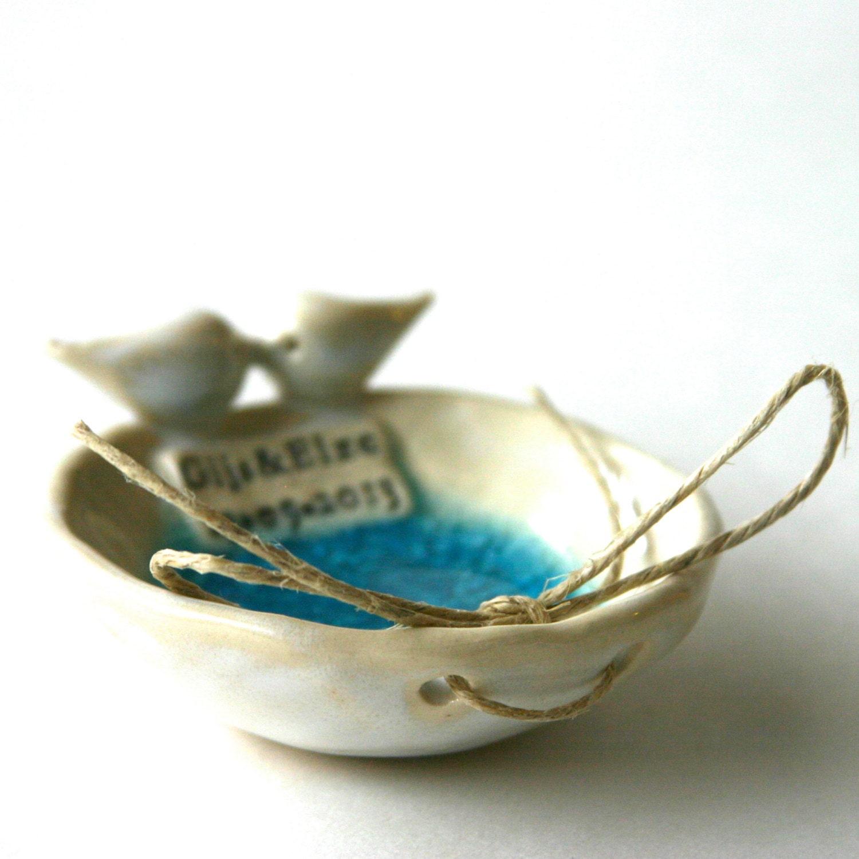 Personalized Wedding Ring Dish - Love Birds - Custom Ring Bearer Bowl - BackBayPottery