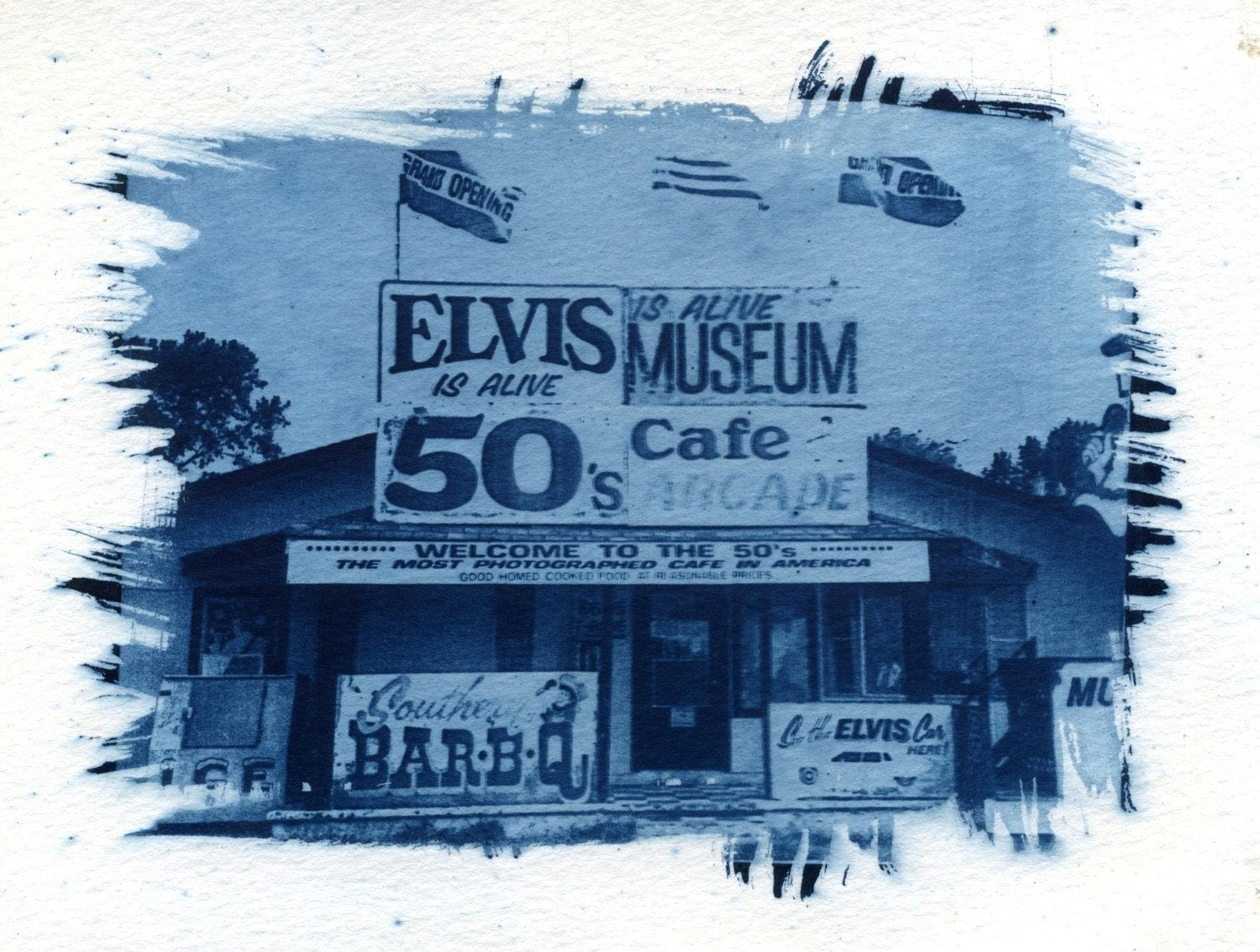 Elvis Is Alive Museum Cyanotype - jalinde